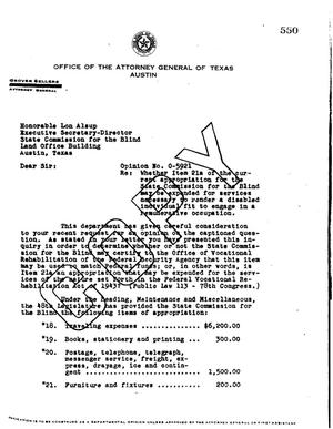 Primary view of object titled 'Texas Attorney General Opinion: O-5921'.