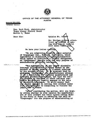 Primary view of object titled 'Texas Attorney General Opinion: O-5977'.