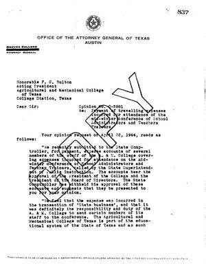 Primary view of object titled 'Texas Attorney General Opinion: O-5981'.