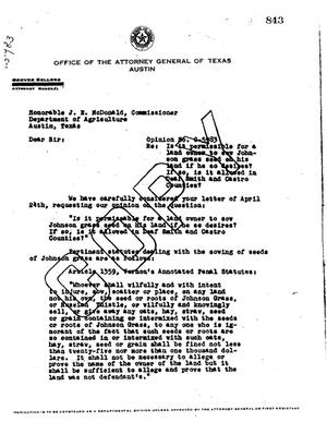 Primary view of object titled 'Texas Attorney General Opinion: O-5983'.
