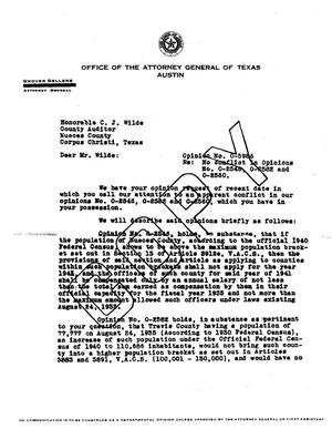 Primary view of object titled 'Texas Attorney General Opinion: O-5986'.