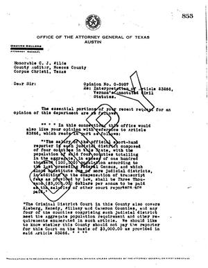Primary view of object titled 'Texas Attorney General Opinion: O-5987'.