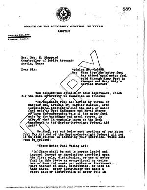 Primary view of object titled 'Texas Attorney General Opinion: O-5995'.