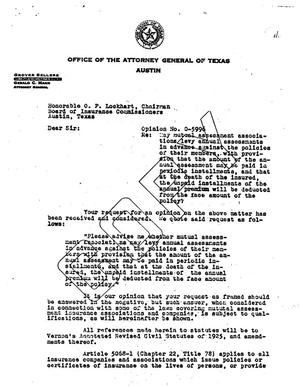 Primary view of object titled 'Texas Attorney General Opinion: O-5996'.
