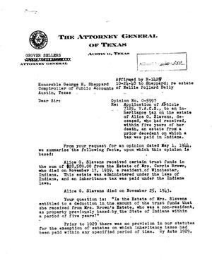 Primary view of object titled 'Texas Attorney General Opinion: O-5997'.