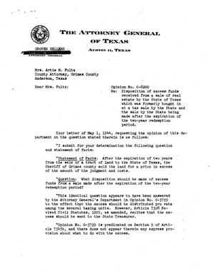 Primary view of object titled 'Texas Attorney General Opinion: O-6000'.