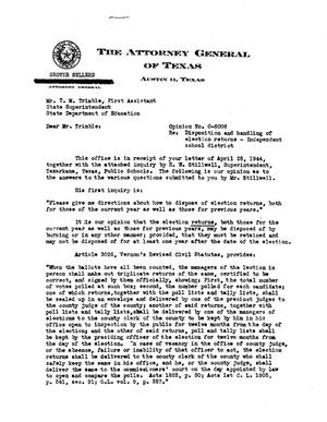 Primary view of object titled 'Texas Attorney General Opinion: O-6006'.