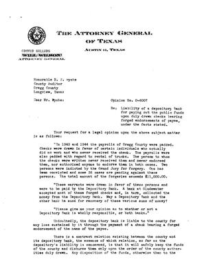Primary view of object titled 'Texas Attorney General Opinion: O-6007'.