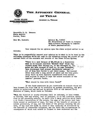 Primary view of object titled 'Texas Attorney General Opinion: O-6010'.