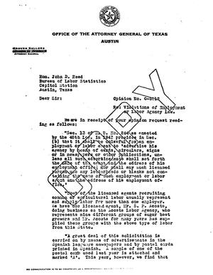 Primary view of object titled 'Texas Attorney General Opinion: O-6012'.