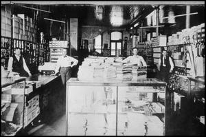 Primary view of object titled '[Interior of a Palestine Dry Goods Store]'.