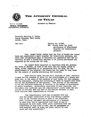 Primary view of object titled 'Texas Attorney General Opinion: O-6041'.