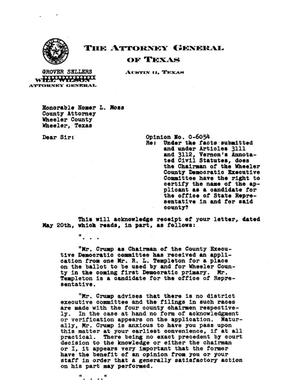 Primary view of object titled 'Texas Attorney General Opinion: O-6054'.