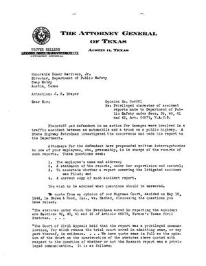 Primary view of object titled 'Texas Attorney General Opinion: O-6061'.