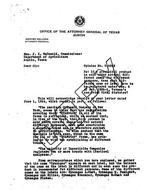 Primary view of object titled 'Texas Attorney General Opinion: O-6062'.