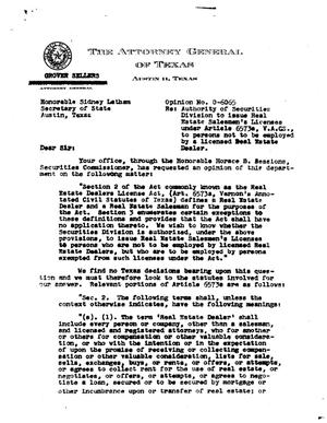 Primary view of object titled 'Texas Attorney General Opinion: O-6065'.