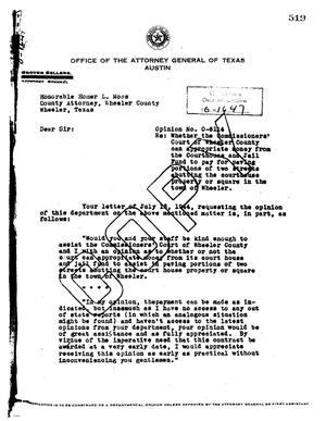 Primary view of object titled 'Texas Attorney General Opinion: O-6114'.