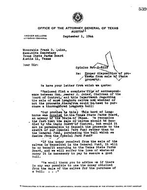 Primary view of object titled 'Texas Attorney General Opinion: O-6119'.