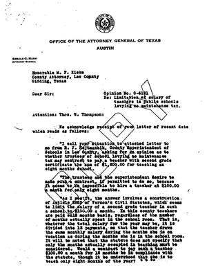 Primary view of object titled 'Texas Attorney General Opinion: O-6121'.