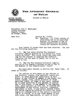 Primary view of object titled 'Texas Attorney General Opinion: O-6221'.