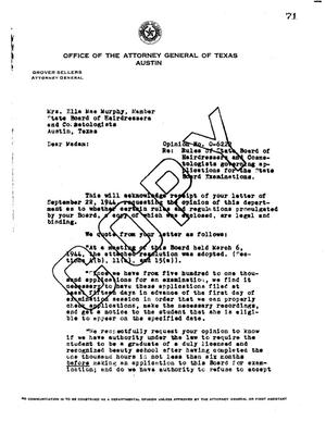 Primary view of object titled 'Texas Attorney General Opinion: O-6222'.