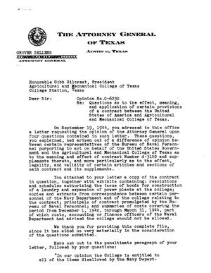 Primary view of object titled 'Texas Attorney General Opinion: O-6230'.