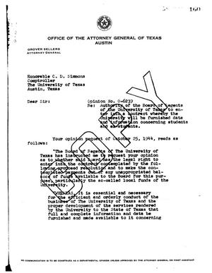 Primary view of object titled 'Texas Attorney General Opinion: O-6239'.