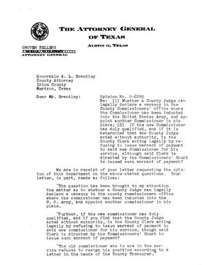 Primary view of object titled 'Texas Attorney General Opinion: O-6245'.
