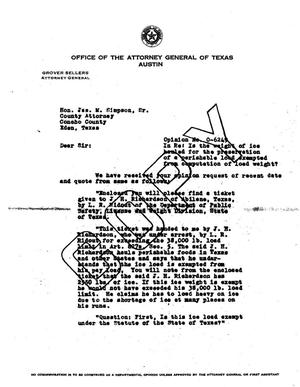 Primary view of object titled 'Texas Attorney General Opinion: O-6249'.