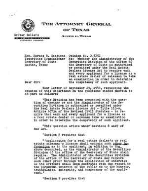Primary view of object titled 'Texas Attorney General Opinion: O-6252'.