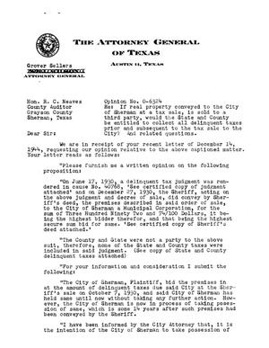 Primary view of object titled 'Texas Attorney General Opinion: O-6324'.