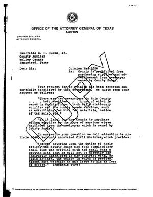 Primary view of object titled 'Texas Attorney General Opinion: O-6326'.