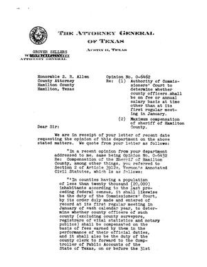 Primary view of object titled 'Texas Attorney General Opinion: O-6462'.
