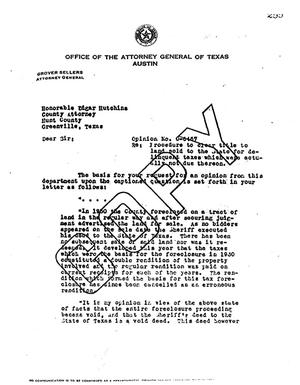 Primary view of object titled 'Texas Attorney General Opinion: O-6467'.