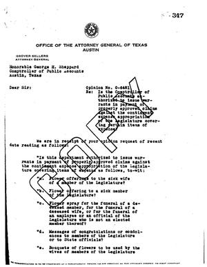 Primary view of Texas Attorney General Opinion: O-6481