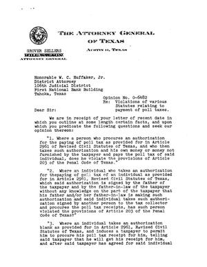 Primary view of object titled 'Texas Attorney General Opinion: O-6482'.