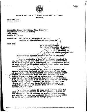Primary view of object titled 'Texas Attorney General Opinion: O-6485'.