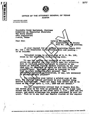 Primary view of object titled 'Texas Attorney General Opinion: O-6532'.