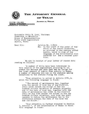 Primary view of object titled 'Texas Attorney General Opinion: O-6533'.