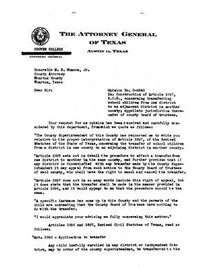 Primary view of object titled 'Texas Attorney General Opinion: O-6548'.