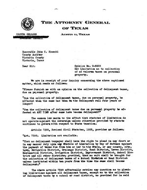 Primary view of object titled 'Texas Attorney General Opinion: O-6558'.