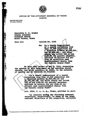 Primary view of object titled 'Texas Attorney General Opinion: O-6559'.