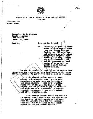 Primary view of object titled 'Texas Attorney General Opinion: O-6560'.