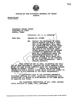 Primary view of object titled 'Texas Attorney General Opinion: O-6561'.