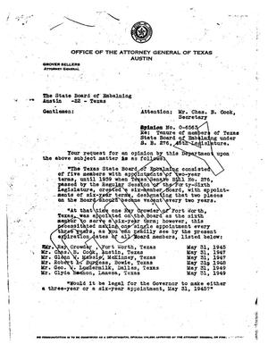 Primary view of object titled 'Texas Attorney General Opinion: O-6563'.