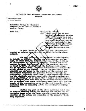 Primary view of object titled 'Texas Attorney General Opinion: O-6595'.