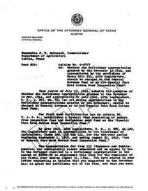 Primary view of object titled 'Texas Attorney General Opinion: O-6707'.