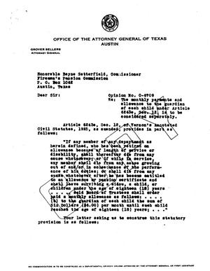 Primary view of object titled 'Texas Attorney General Opinion: O-6709'.