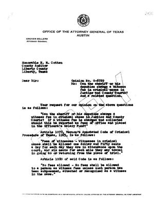 Primary view of object titled 'Texas Attorney General Opinion: O-6729'.