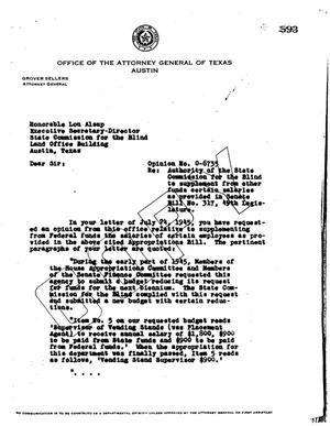 Primary view of object titled 'Texas Attorney General Opinion: O-6735'.